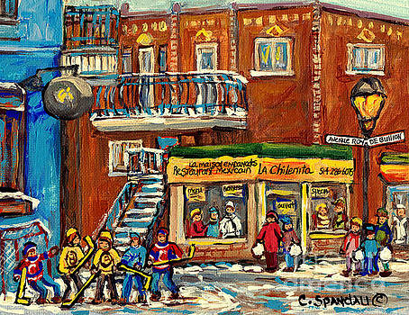 La Chilenita Mexican Eatery Hockey Art Corner Cafe Rue Roy And Debullion C Spandau Quebec Artist by Carole Spandau