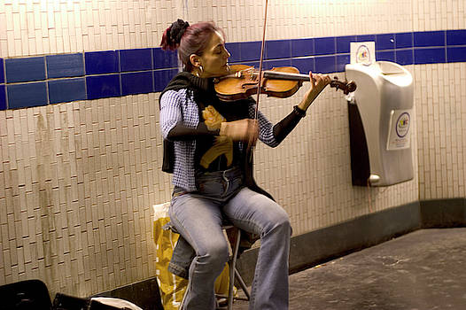 Lady Plays Violin in Paris Metro by Carl Purcell