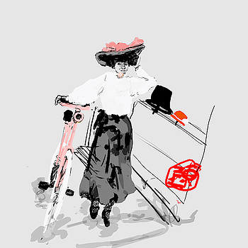Lady with bike and BIG hat by Debbi Saccomanno Chan