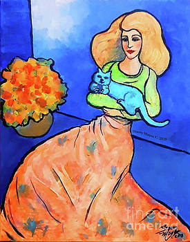 Lady with Blue Cat by Stacey Mayer