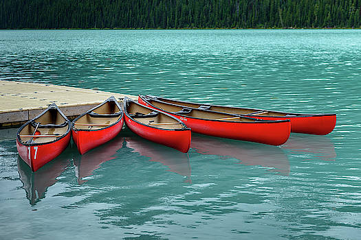 Lake Louise Canoes by Ian Robert Knight