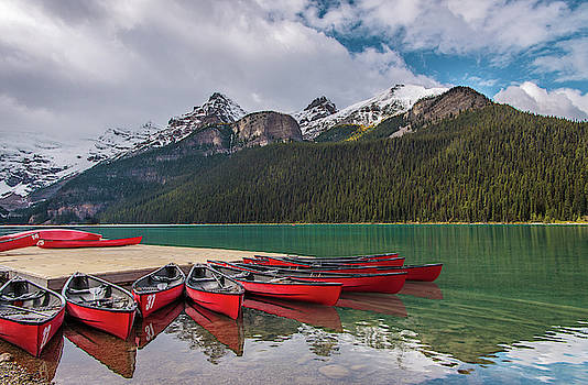 Lake Louise Canoes by Joy McAdams