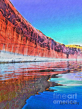 Lake Powell with cliff reflections by Annie Gibbons