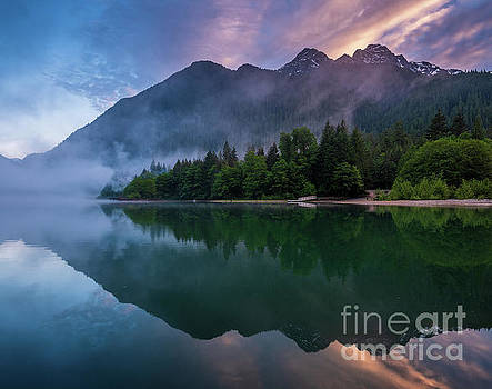 Lake Reflection Cascading Diagonals by Mike Reid