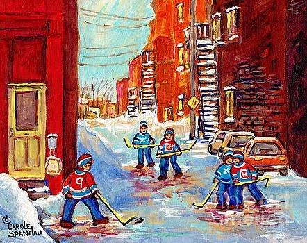Laneway Hockey Game Off 4th Ave Verdun Winter Staircase Snow Scene C Spandau Southwest Montreal Art  by Carole Spandau