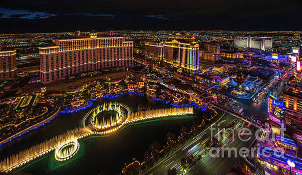 Las Vegas Photography Bellagio Fountains and the Strip at Night by Mike Reid