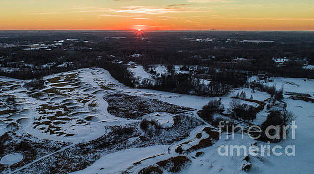 Late Fall Sunset over Western Stillwater Loggers Trail Golf  by Pictures Over Stillwater
