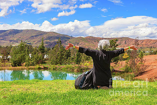 Latin Lady With Silver Hair Celebrates The Beauty Of The Andes by Devasahayam Chandra Dhas