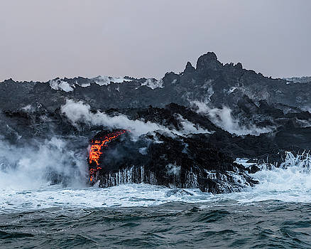 Lava Entering the Sea II by William Dickman