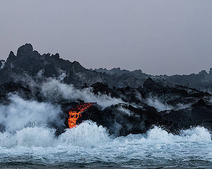 Lava Entering the Sea IV by William Dickman