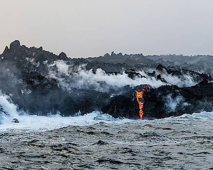 Lava Entering the Sea V by William Dickman