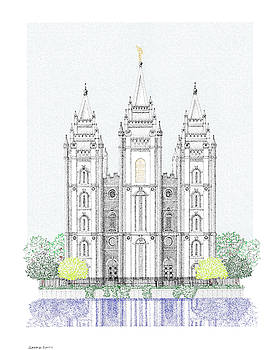 LDS Salt Lake Temple - Colorized by Gerald Lynch
