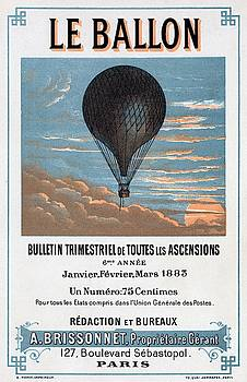 Le Ballon aeronautical journal, 1883 french poster by E Pichot