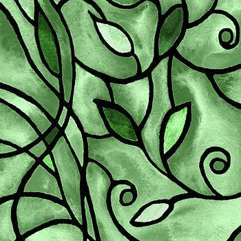 Leaves And Curves Art Nouveau Style X by Irina Sztukowski