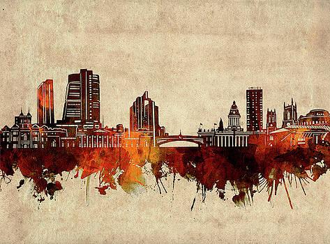 Leeds Skyline Sepia by Bekim Art