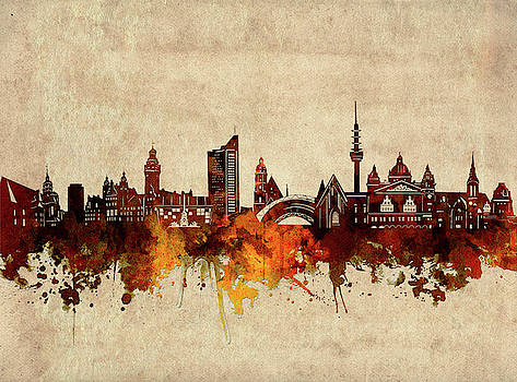 Leipzig Skyline Sepia by Bekim Art