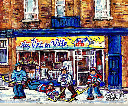 Les Iles En Ville Resto Bistro Hockey Art Verdun Paintings C Spandau Wellington Winter Street Scene by Carole Spandau
