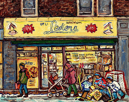 Lester's Deli Boys Of Bernard Hockey Art Mile End Montreal Best Beef Hot Dogs C Spandau Quebec Art by Carole Spandau