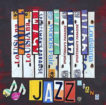 License Plate Art Jazz Series   Piano Wall Art by David Bowman