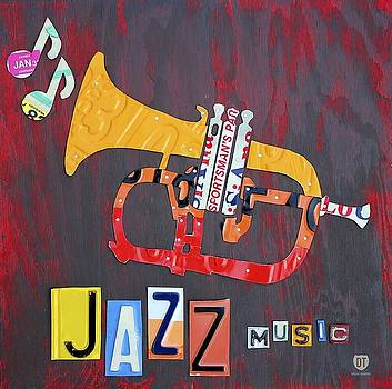 License Plate Art Jazz Series   Trumpet Wall Art by David Bowman