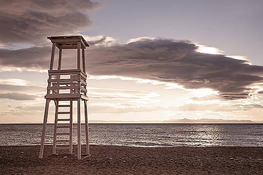 Lifeguard Tower at Sunset - Horizontal by Lenochka Blonsky
