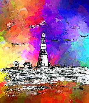 Lighthouse at sunset by Abstract Angel Artist Stephen K
