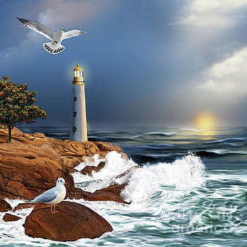 Lighthouse Sunset by Anne Vis