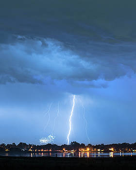 Lightning Raining Down with Some Firework Sprinkles by James BO Insogna