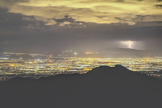 Chance Kafka - Lights of Tucson from Windy Point Lightning