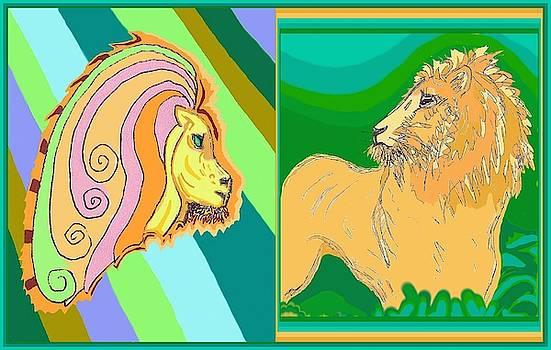 Lion Pair cool by Julia Woodman