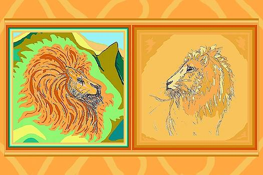 Lion Pair warm by Julia Woodman
