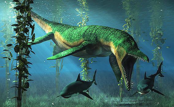 Liopleurodon Chasing Sharks by Daniel Eskridge