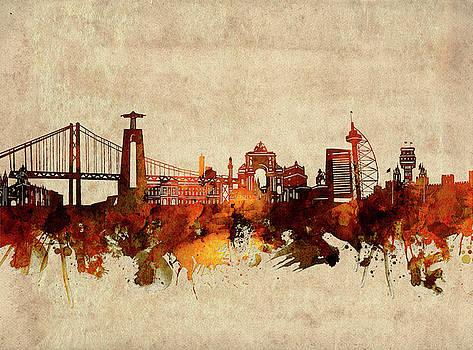 Lisbon Skyline Sepia by Bekim Art