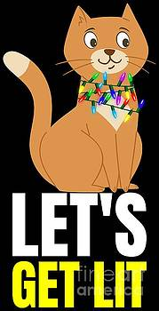 LIT Funny Cat Christmas Kittie Lets Get LIT Gift Idea by Festivalshirt