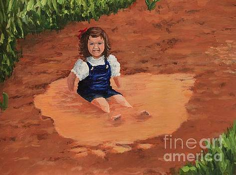Little Girl in a Puddle by Angela Stafford