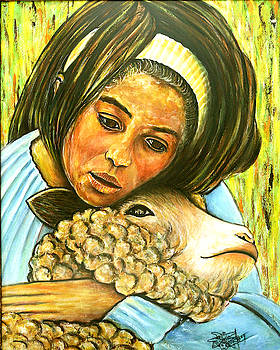 Little Girl With Lamb by Jackie Nourigat