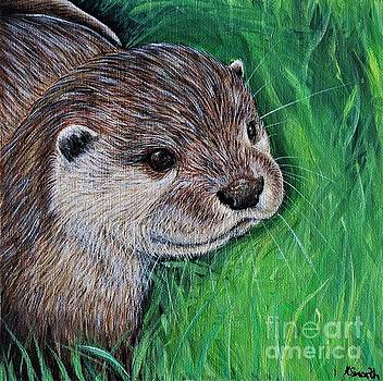 Little River Otter Painting by Kirsten Sneath