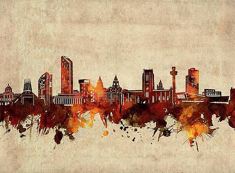 Liverpool Skyline Sepia by Bekim Art