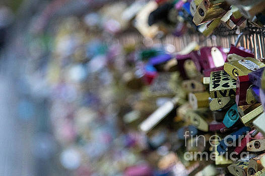 Locks on the Bridge Beautiful Romantic Evening Walk Along The Seine River Paris France by Wayne Moran
