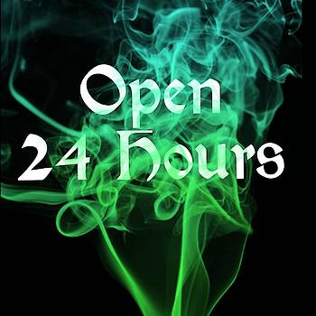 Open 24 Hours Tattoo Logo Art 17 by Shirley Anderson