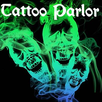 Tattoo Parlor 3 Flaming Skulls Logo Art 6 by Shirley Anderson