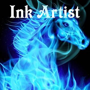 Ink Artist Flaming Horse Tattoo Logo Art 7 by Shirley Anderson