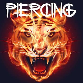 Piercing Flaming Tiger Tattoo Logo Art 8 by Shirley Anderson