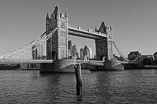 Toby McGuire - London England Tower Bridge and Skyline Blue Sky Black and White
