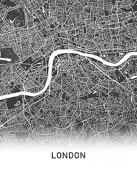 London map black and white by Delphimages Photo Creations