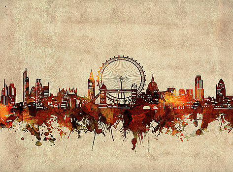 London Skyline Sepia by Bekim Art