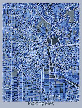 Los Angeles Map Retro 5 by Bekim M
