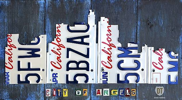 Los Angeles Skyline License Plate Art Wall Art by David Bowman