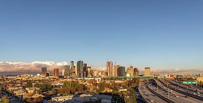 Los Angeles Skyline Looking East Panorama 2.9.19 by Gene Parks