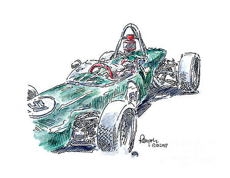 Frank Ramspott - Lotus 51 Formula Ford Racecar Ink Drawing and Watercolor
